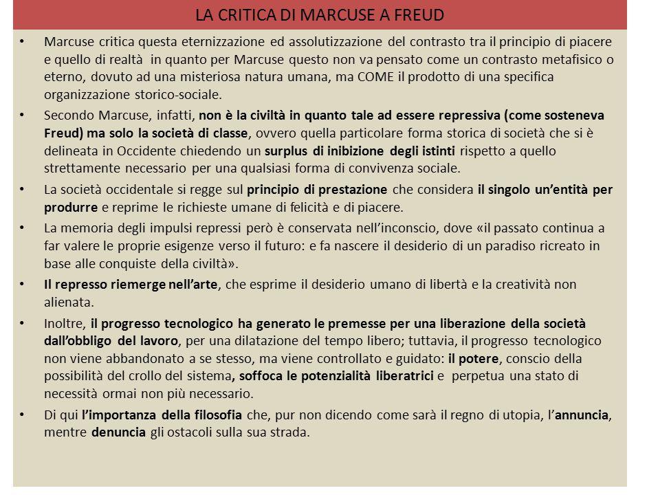 LA CRITICA DI MARCUSE A FREUD