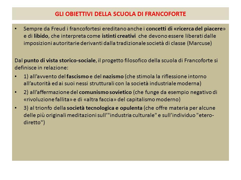 GLI OBIETTIVI DELLA SCUOLA DI FRANCOFORTE