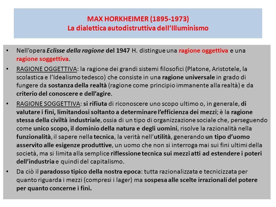 MAX HORKHEIMER (1895-1973) La dialettica autodistruttiva dell'Illuminismo
