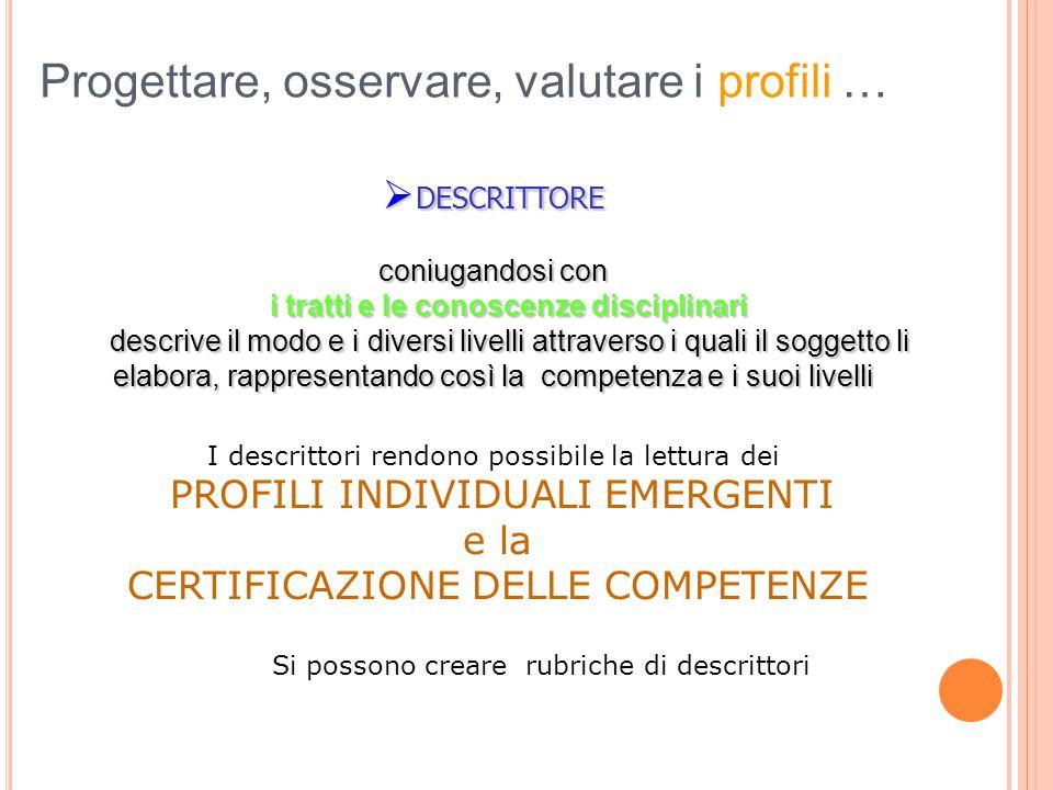 Progettare, osservare, valutare i profili …