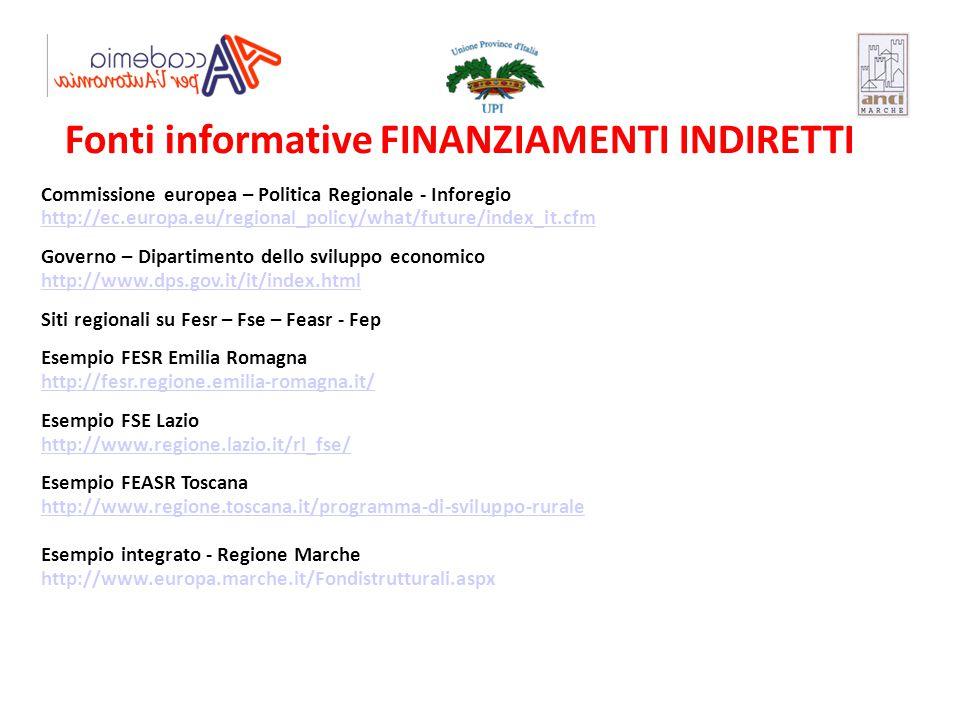 Fonti informative FINANZIAMENTI INDIRETTI