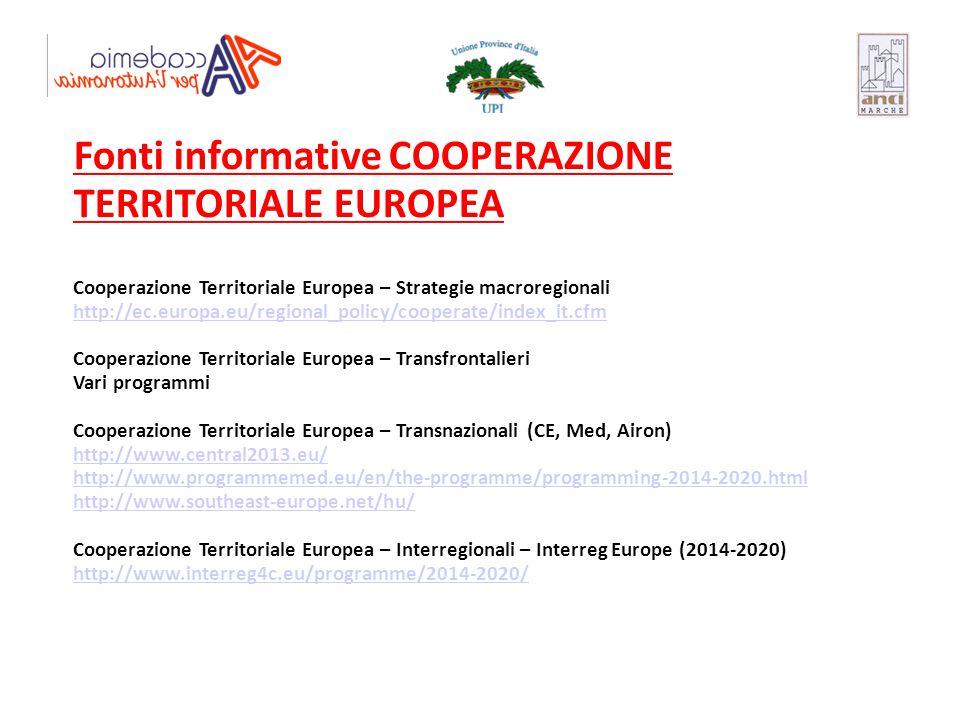 Fonti informative COOPERAZIONE TERRITORIALE EUROPEA