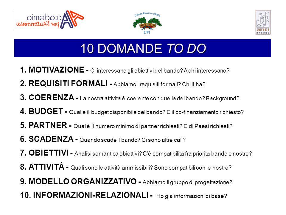 10 DOMANDE TO DO 1. MOTIVAZIONE - Ci interessano gli obiettivi del bando A chi interessano