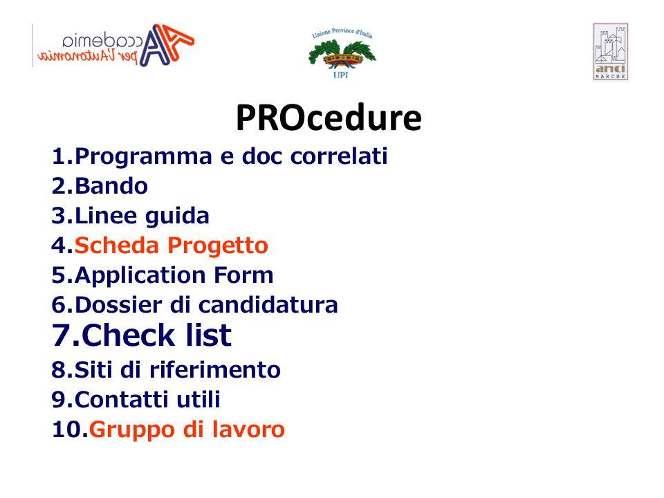 PROcedure Check list Programma e doc correlati Bando Linee guida