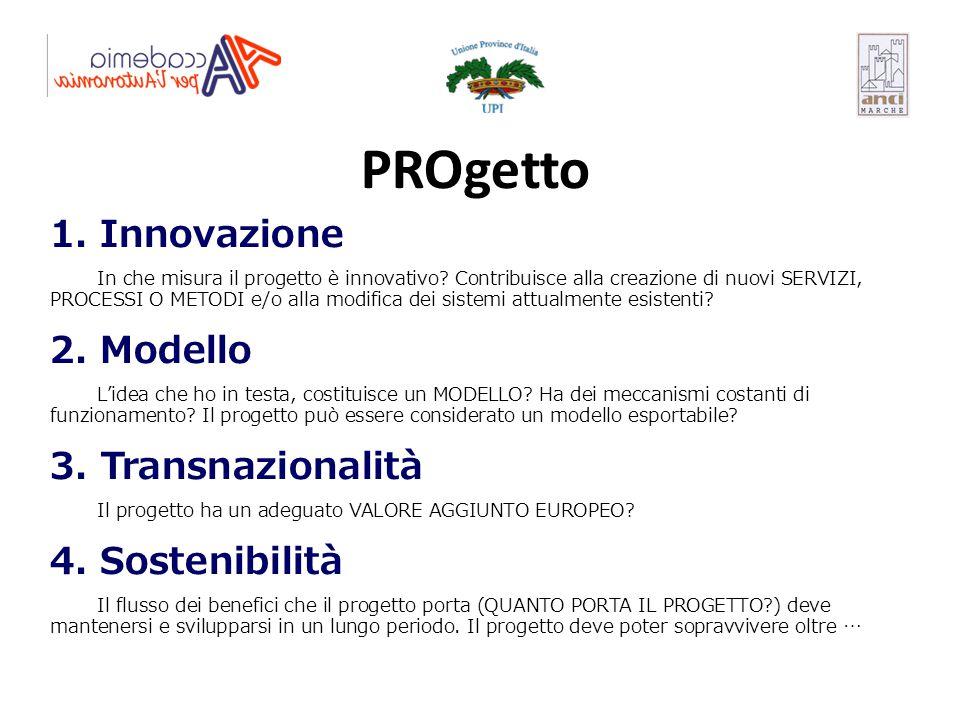 PROgetto 1. Innovazione 2. Modello 3. Transnazionalità