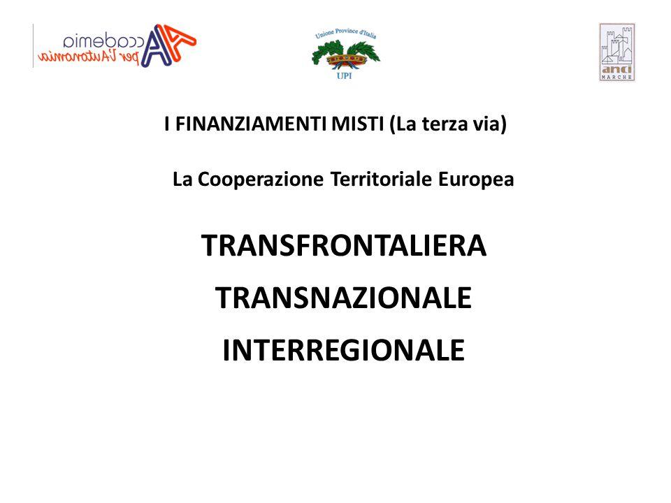 TRANSFRONTALIERA TRANSNAZIONALE INTERREGIONALE