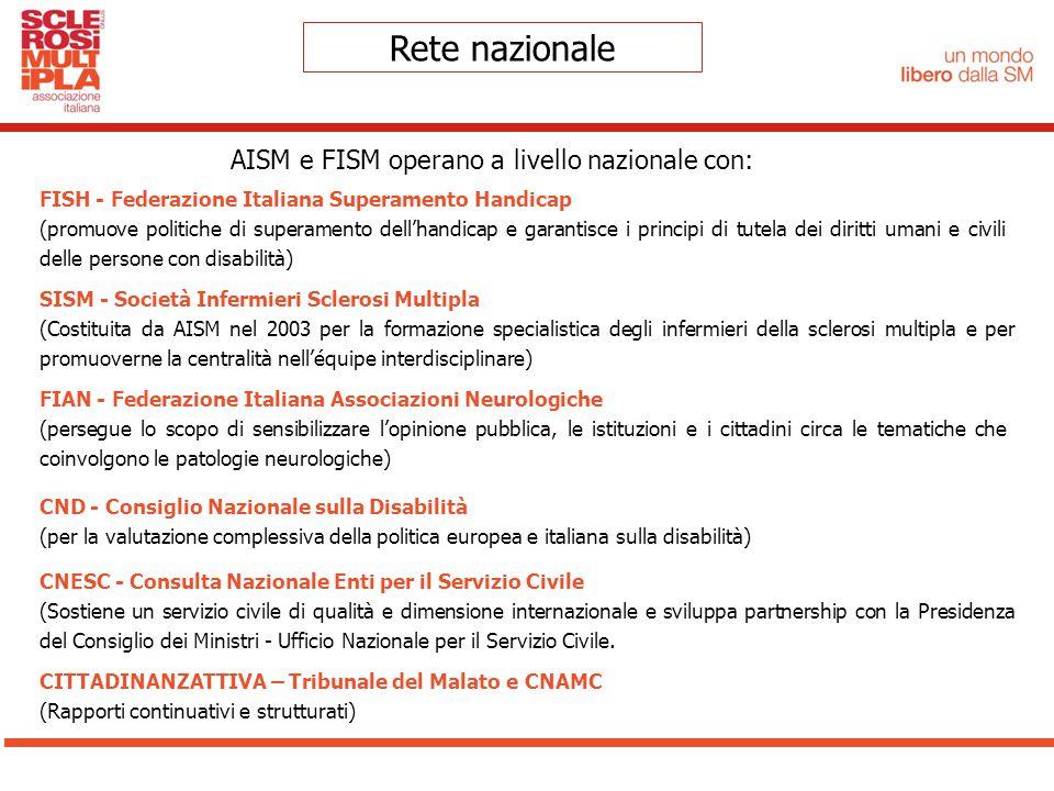 Rete nazionale AISM e FISM operano a livello nazionale con: