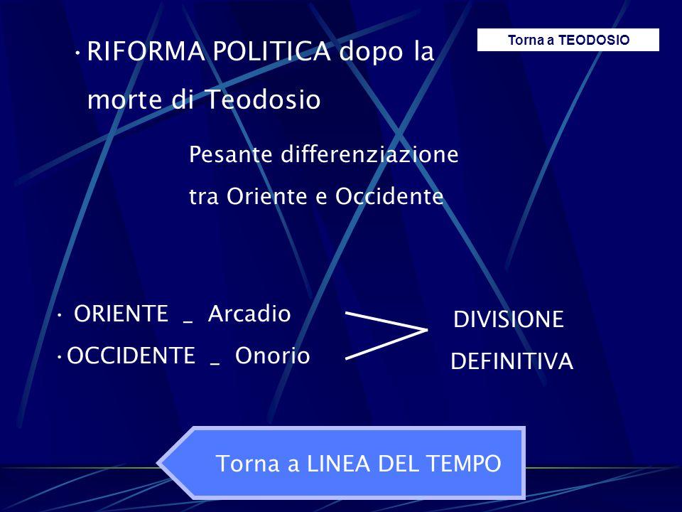 RIFORMA POLITICA dopo la morte di Teodosio