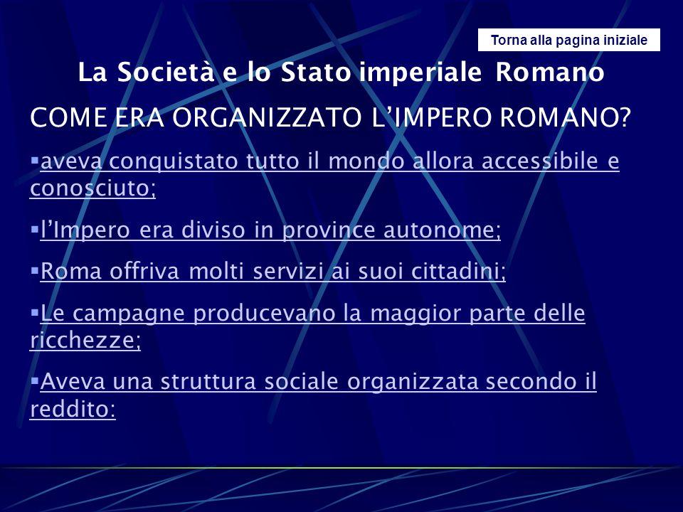 Torna alla pagina iniziale La Società e lo Stato imperiale Romano