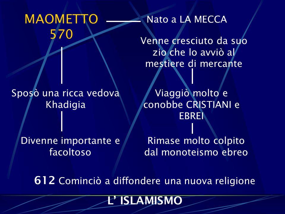 MAOMETTO 570 612 Cominciò a diffondere una nuova religione