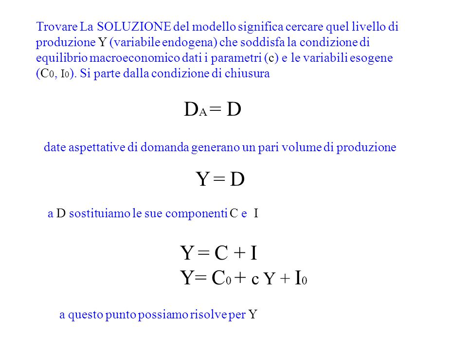 DA = D Y = D Y = C + I Y= C0 + c Y + I0