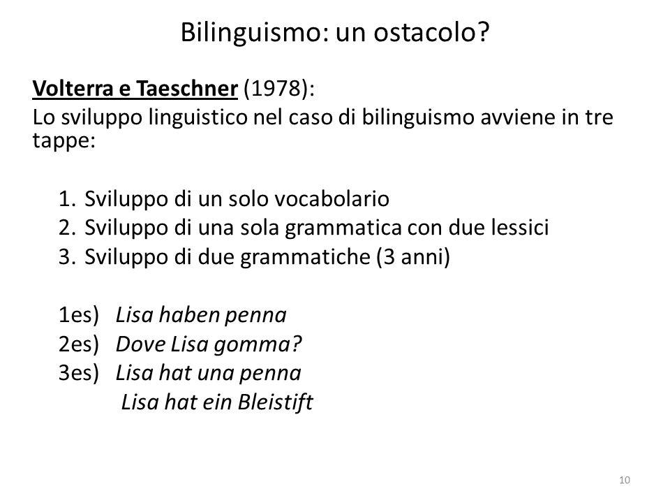 Bilinguismo: un ostacolo
