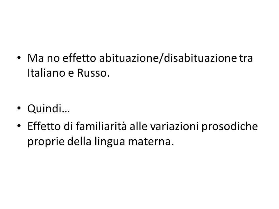 Ma no effetto abituazione/disabituazione tra Italiano e Russo.