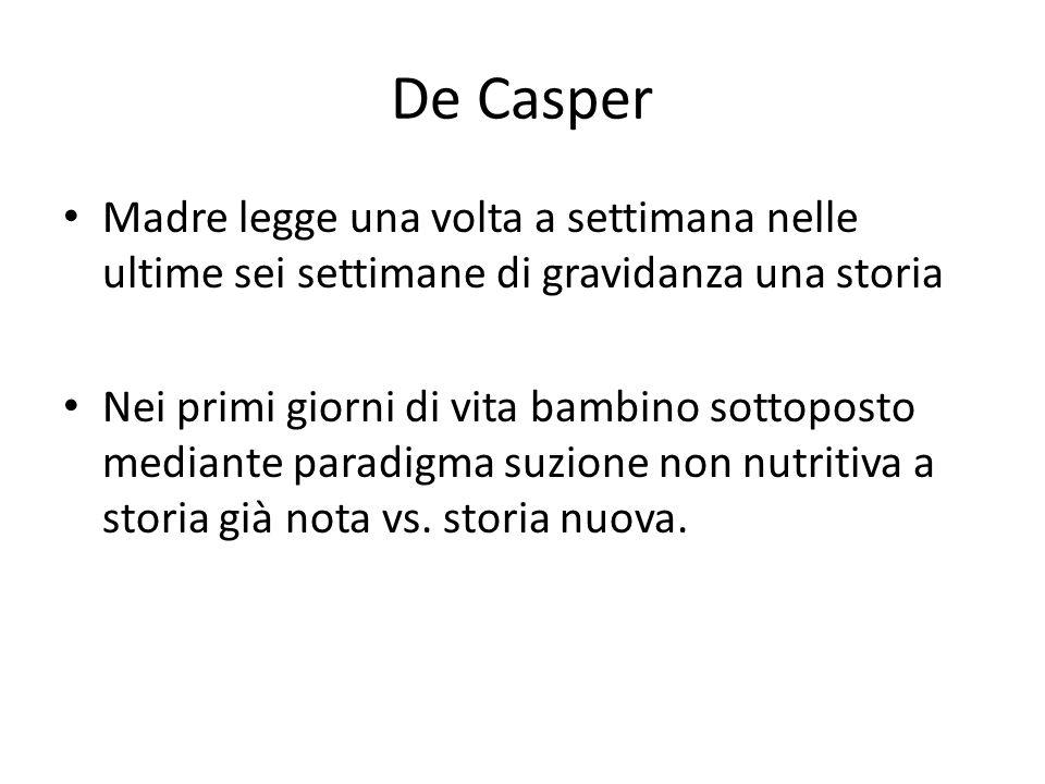De Casper Madre legge una volta a settimana nelle ultime sei settimane di gravidanza una storia.