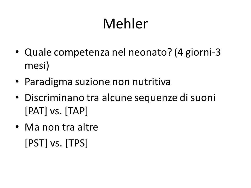 Mehler Quale competenza nel neonato (4 giorni-3 mesi)
