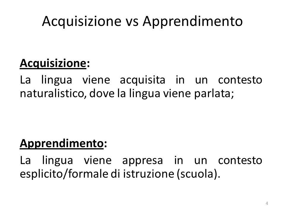 Acquisizione vs Apprendimento