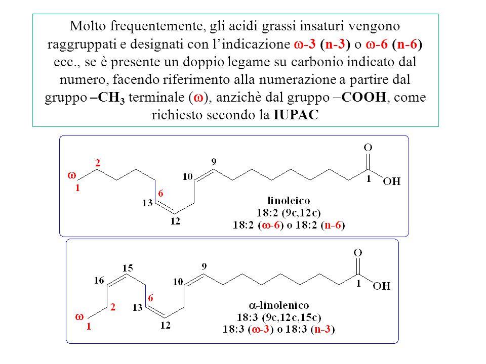 Molto frequentemente, gli acidi grassi insaturi vengono raggruppati e designati con l'indicazione w-3 (n-3) o w-6 (n-6) ecc., se è presente un doppio legame su carbonio indicato dal numero, facendo riferimento alla numerazione a partire dal gruppo –CH3 terminale (w), anzichè dal gruppo -COOH, come richiesto secondo la IUPAC