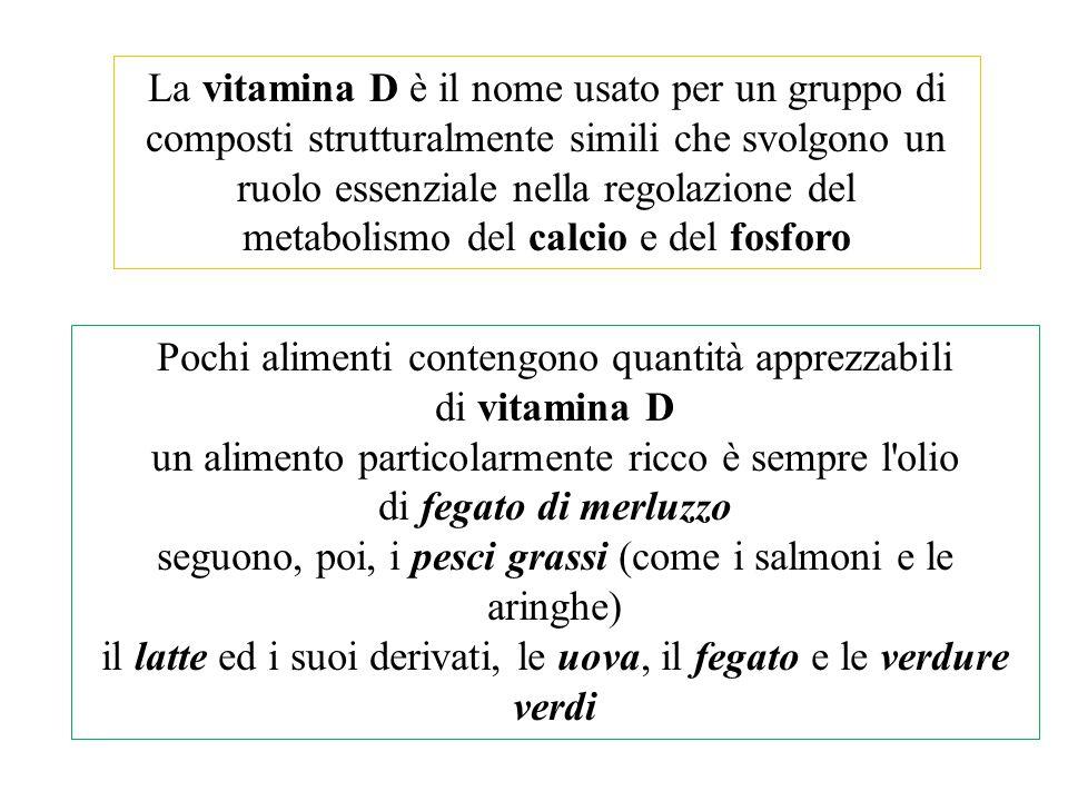 Pochi alimenti contengono quantità apprezzabili di vitamina D