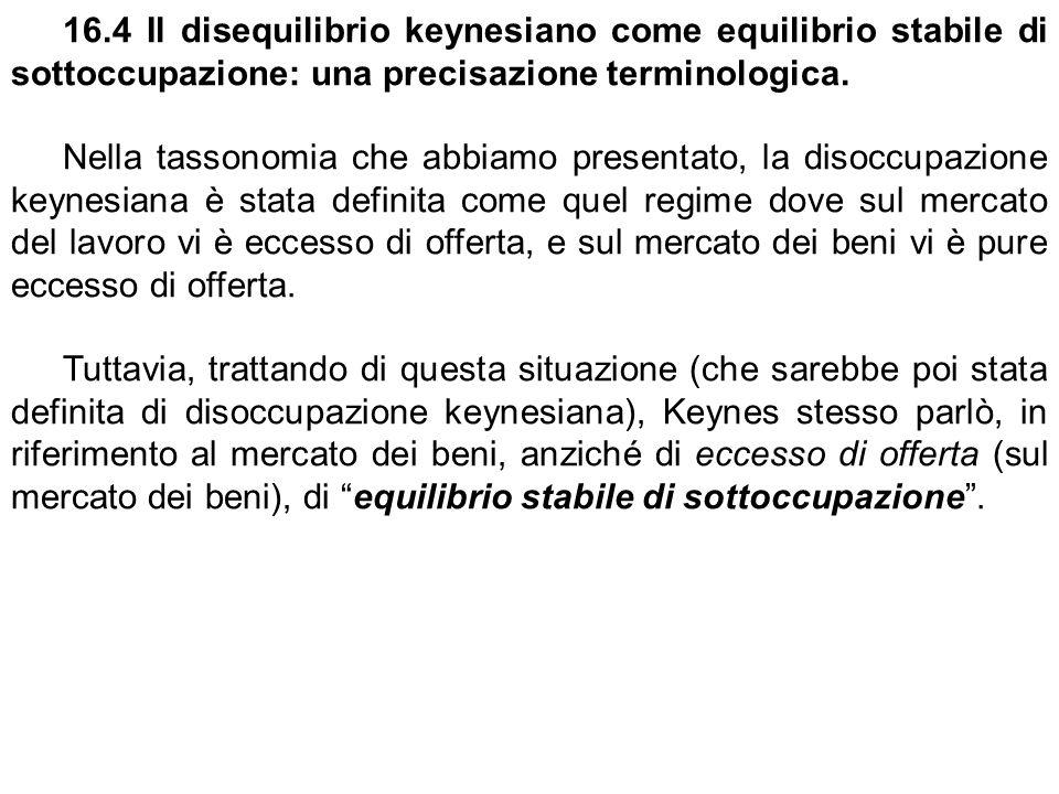 16.4 Il disequilibrio keynesiano come equilibrio stabile di sottoccupazione: una precisazione terminologica.