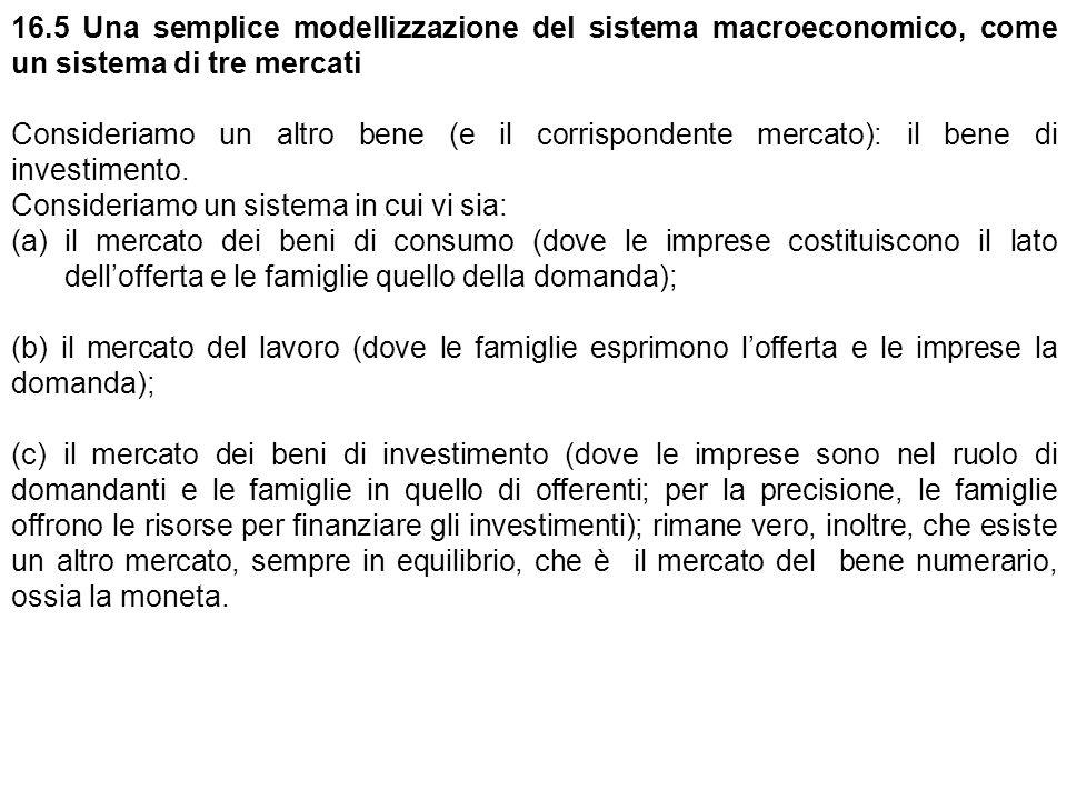 16.5 Una semplice modellizzazione del sistema macroeconomico, come un sistema di tre mercati