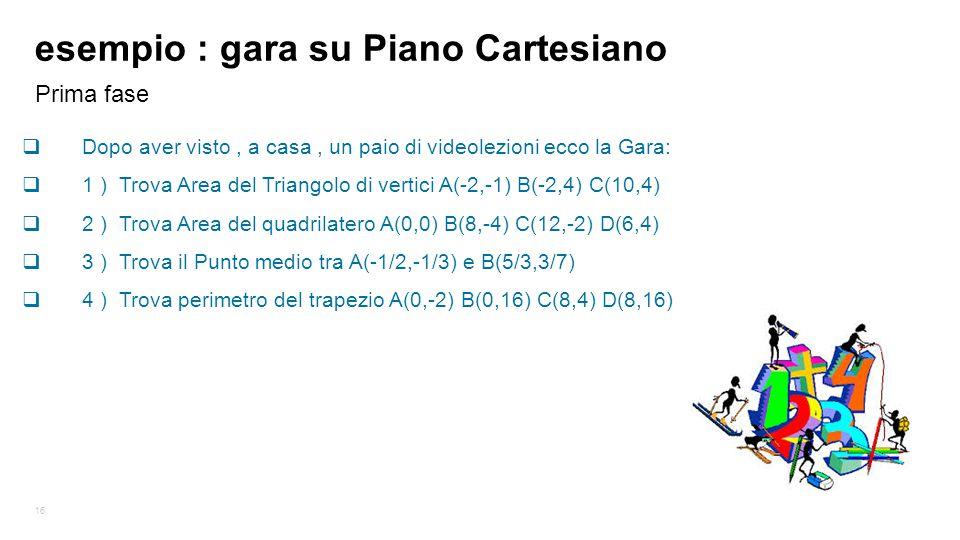 esempio : gara su Piano Cartesiano