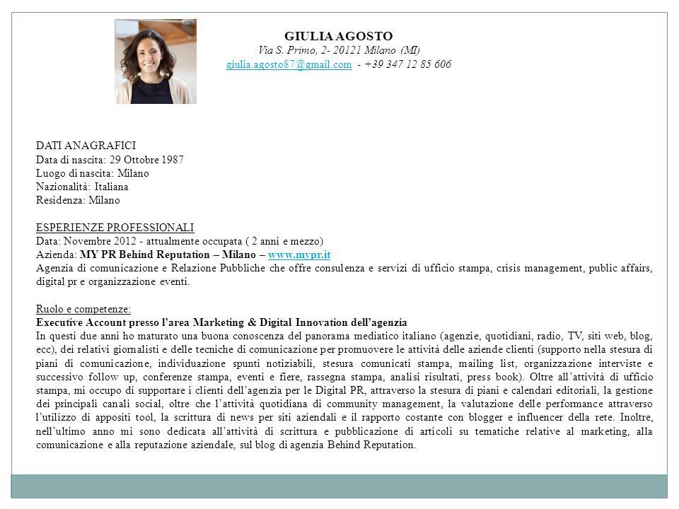 GIULIA AGOSTO Via S. Primo, 2- 20121 Milano (MI)