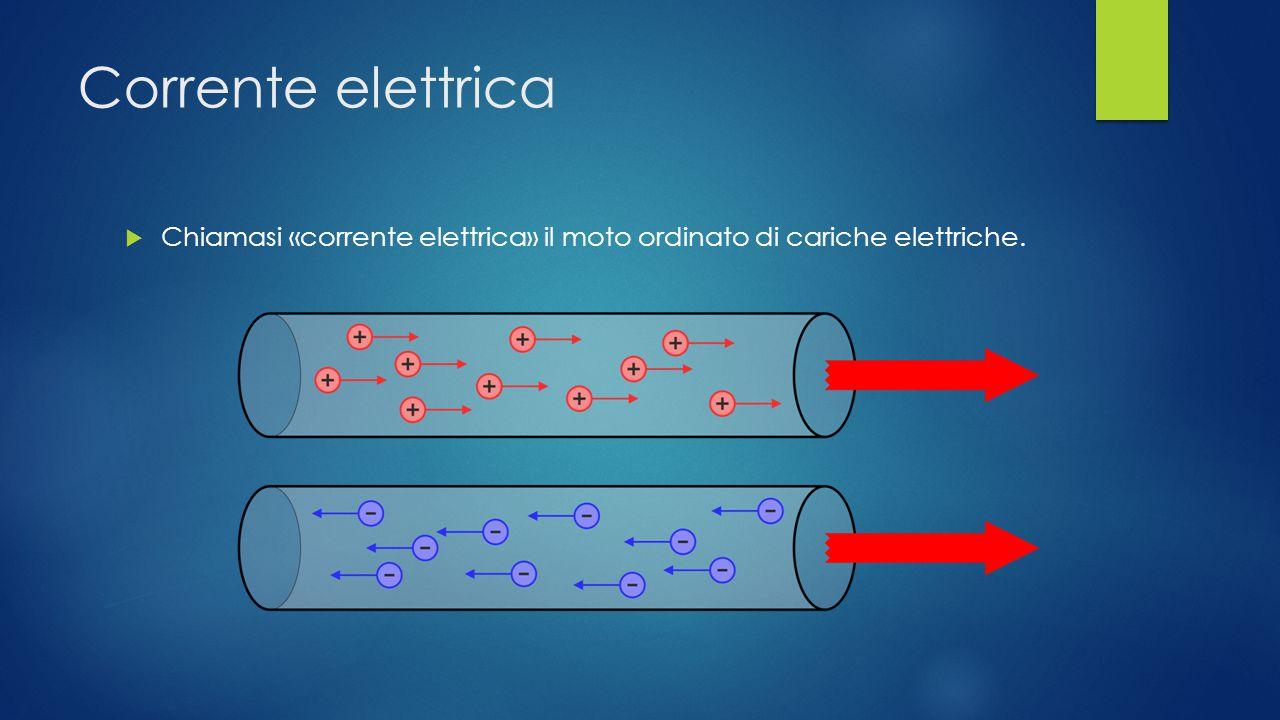 Corrente elettrica Chiamasi «corrente elettrica» il moto ordinato di cariche elettriche.