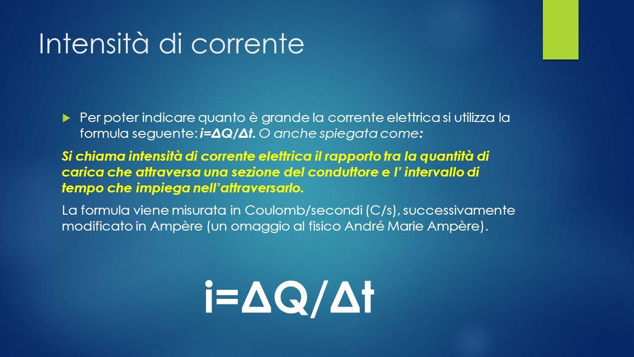 i=ΔQ/Δt Intensità di corrente