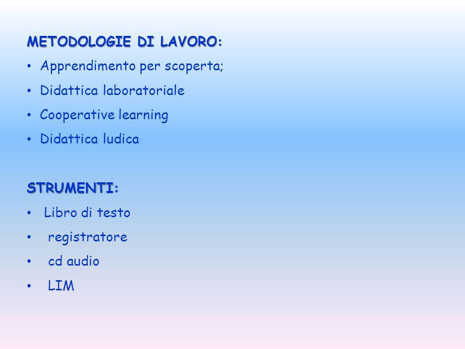 METODOLOGIE DI LAVORO: