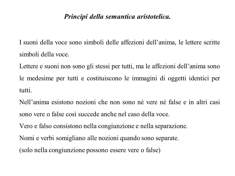 Principi della semantica aristotelica.