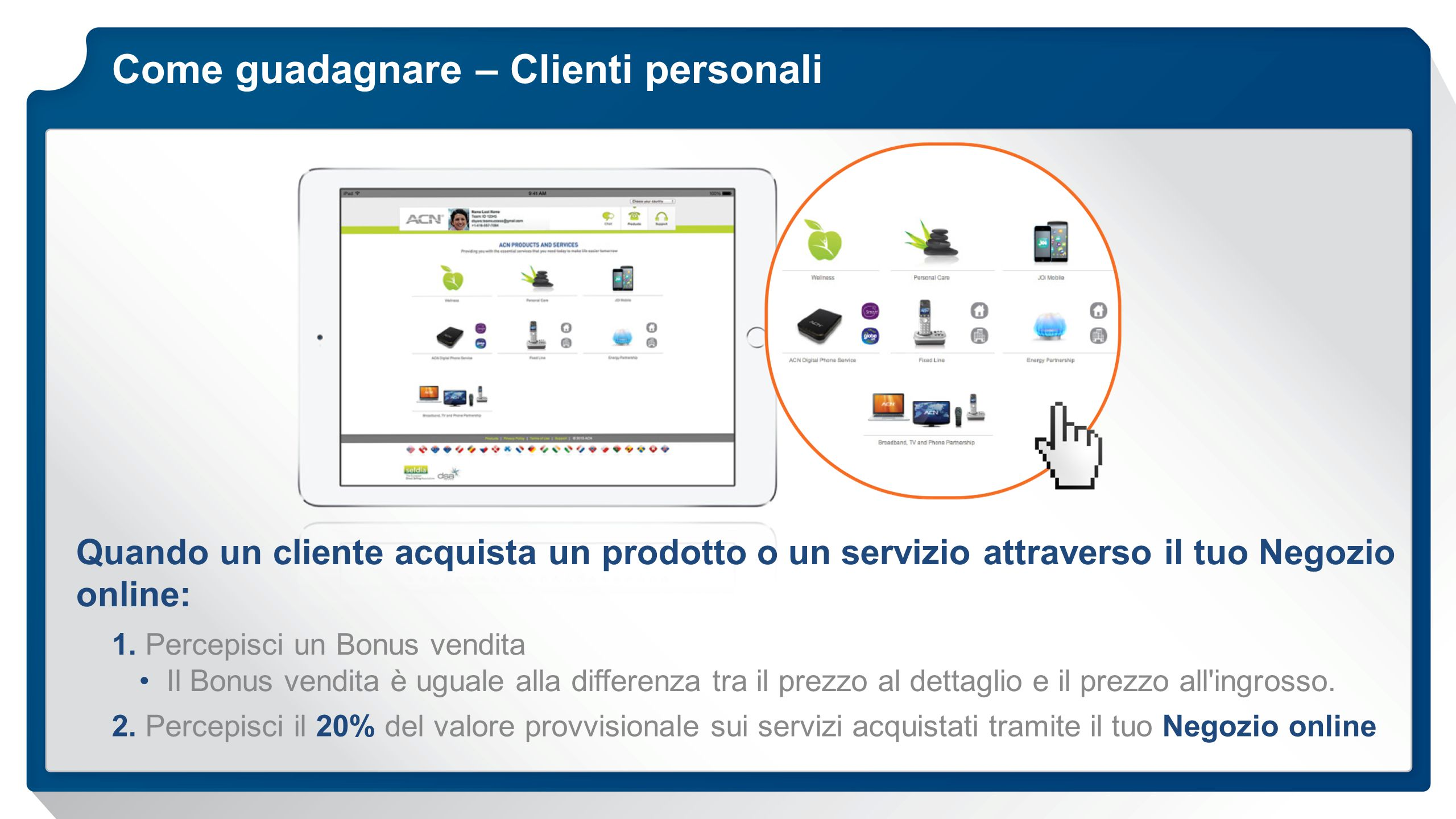 Come guadagnare – Clienti personali
