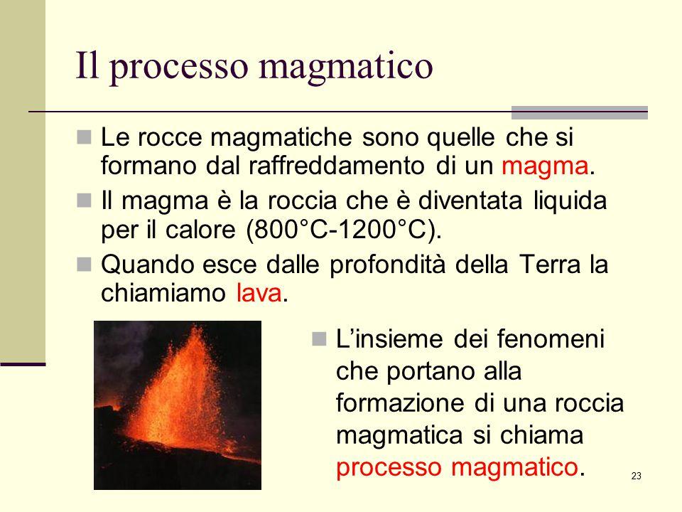 Il processo magmatico Le rocce magmatiche sono quelle che si formano dal raffreddamento di un magma.