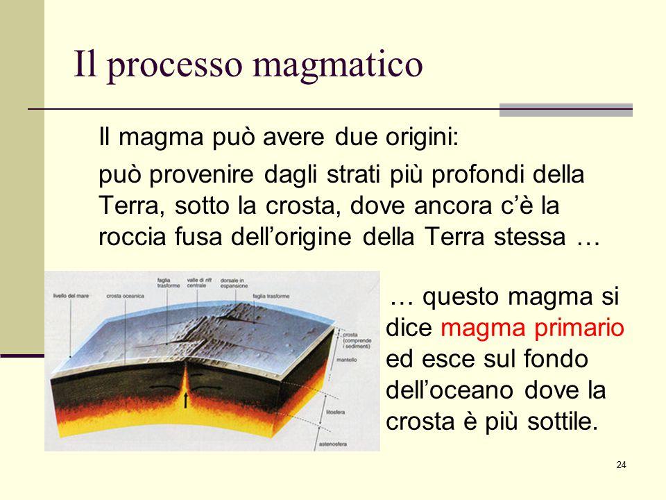 Il processo magmatico Il magma può avere due origini: