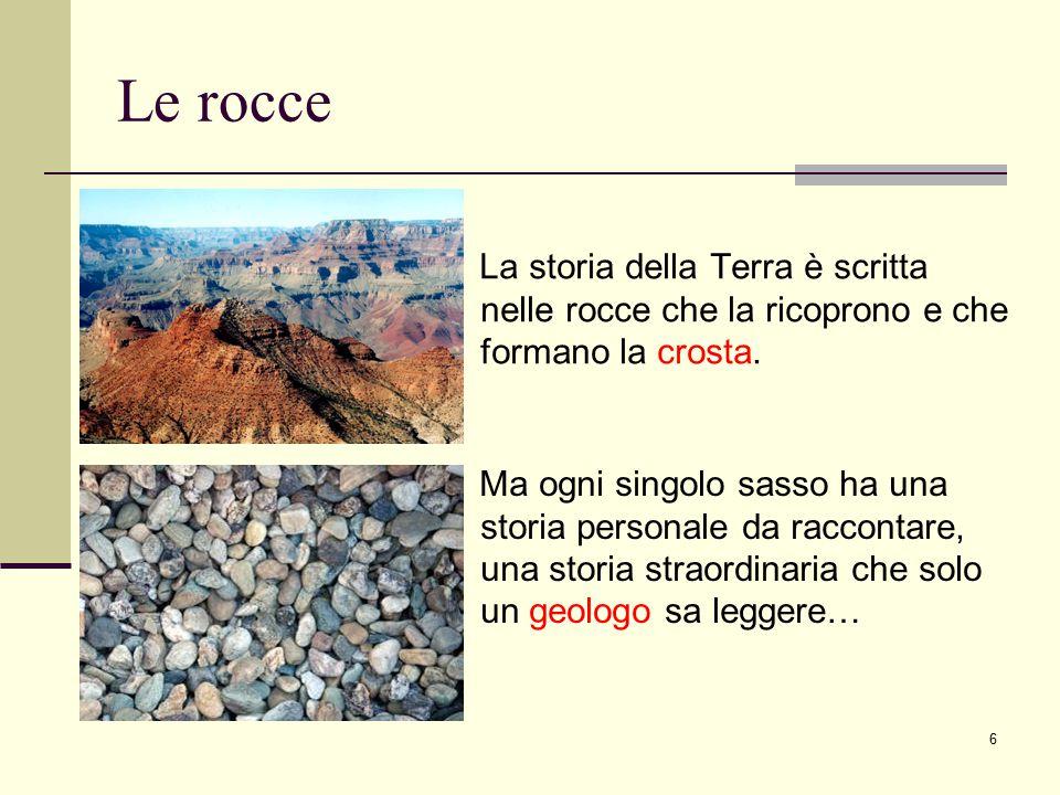 Le rocce La storia della Terra è scritta nelle rocce che la ricoprono e che formano la crosta.