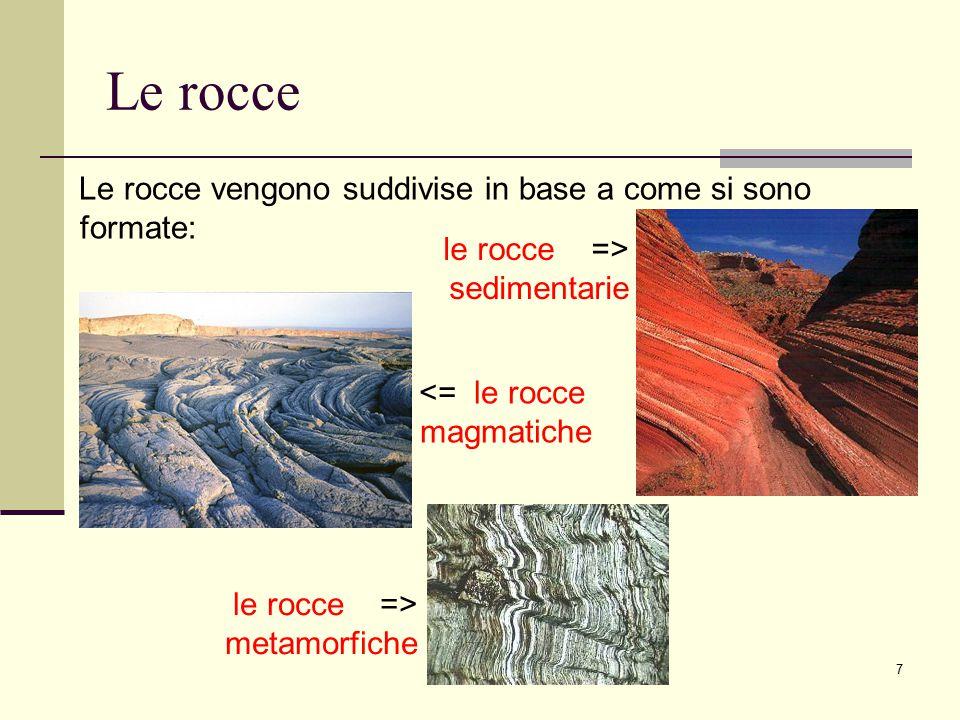 Le rocce Le rocce vengono suddivise in base a come si sono formate: