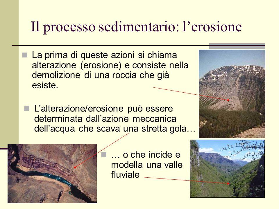 Il processo sedimentario: l'erosione