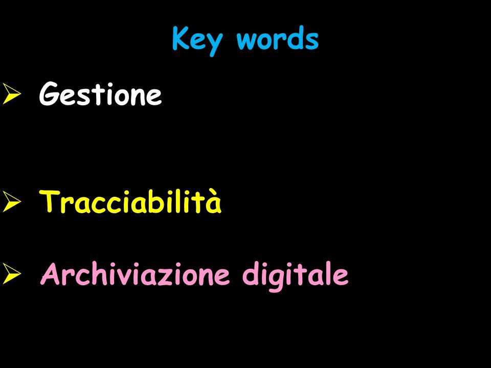 Key words Gestione Tracciabilità Archiviazione digitale