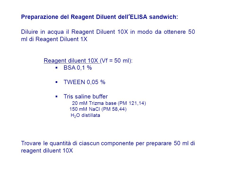 Preparazione del Reagent Diluent dell'ELISA sandwich: