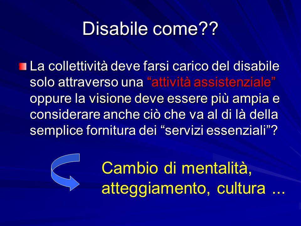 Disabile come Cambio di mentalità, atteggiamento, cultura ...