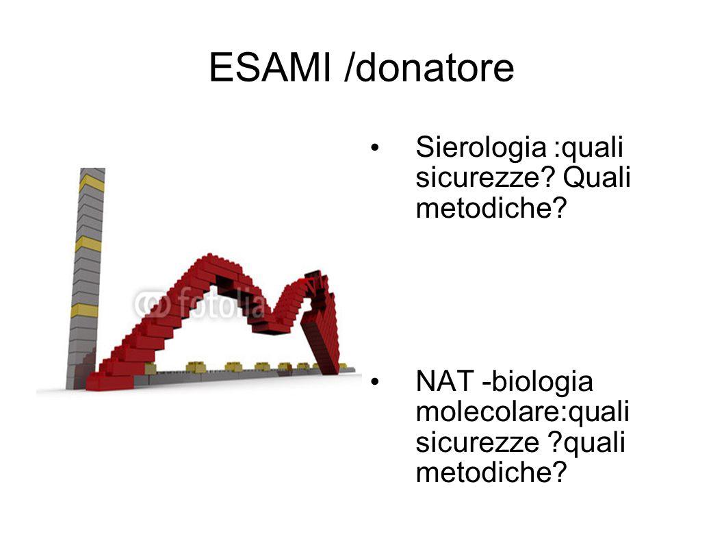 ESAMI /donatore Sierologia :quali sicurezze Quali metodiche