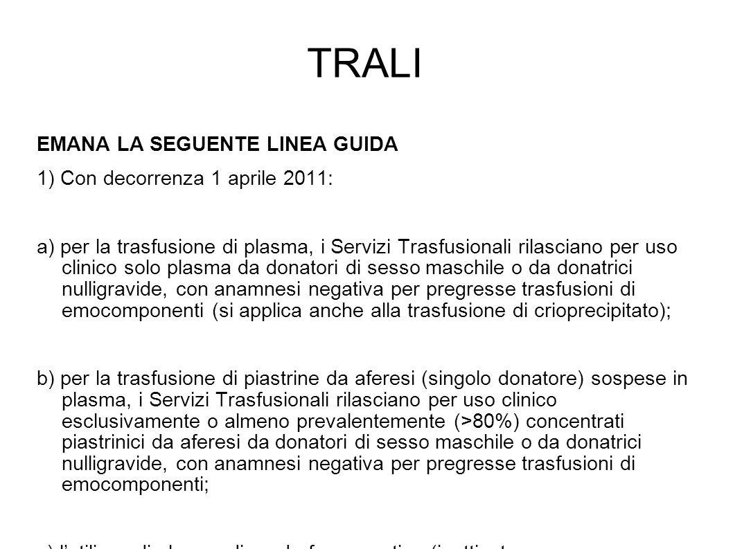 TRALI EMANA LA SEGUENTE LINEA GUIDA 1) Con decorrenza 1 aprile 2011: