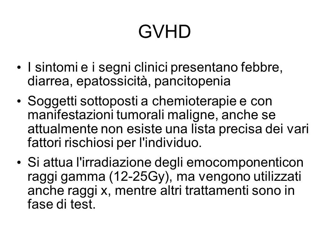 GVHD I sintomi e i segni clinici presentano febbre, diarrea, epatossicità, pancitopenia.