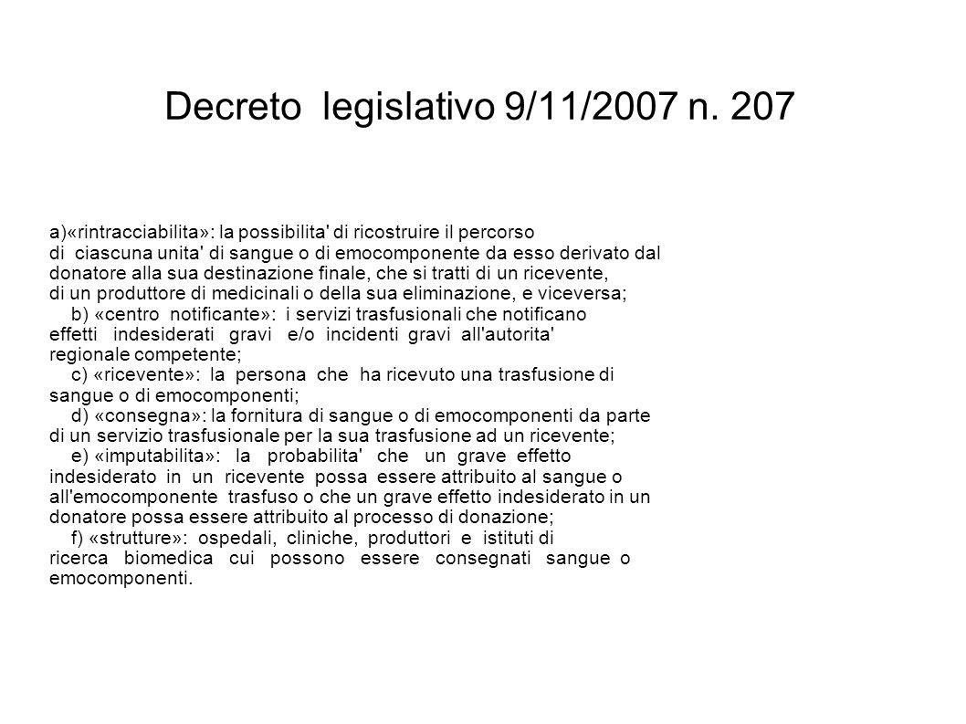 Decreto legislativo 9/11/2007 n. 207