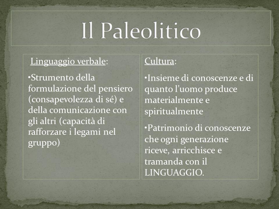 Il Paleolitico Linguaggio verbale: Cultura: