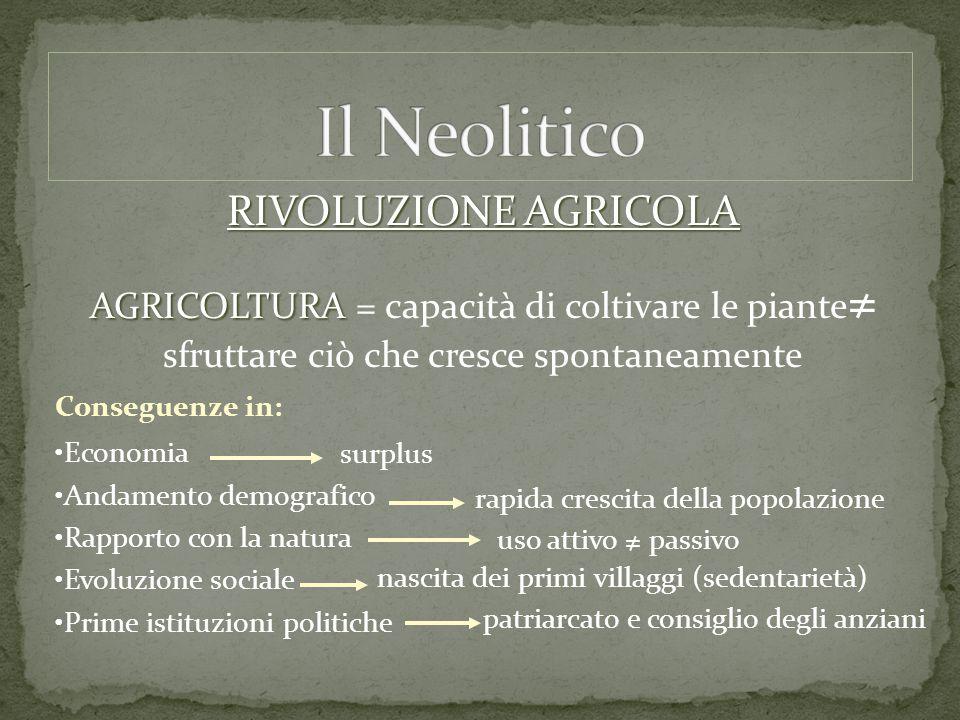 Il Neolitico RIVOLUZIONE AGRICOLA