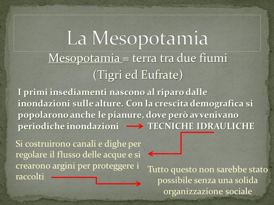 Mesopotamia = terra tra due fiumi