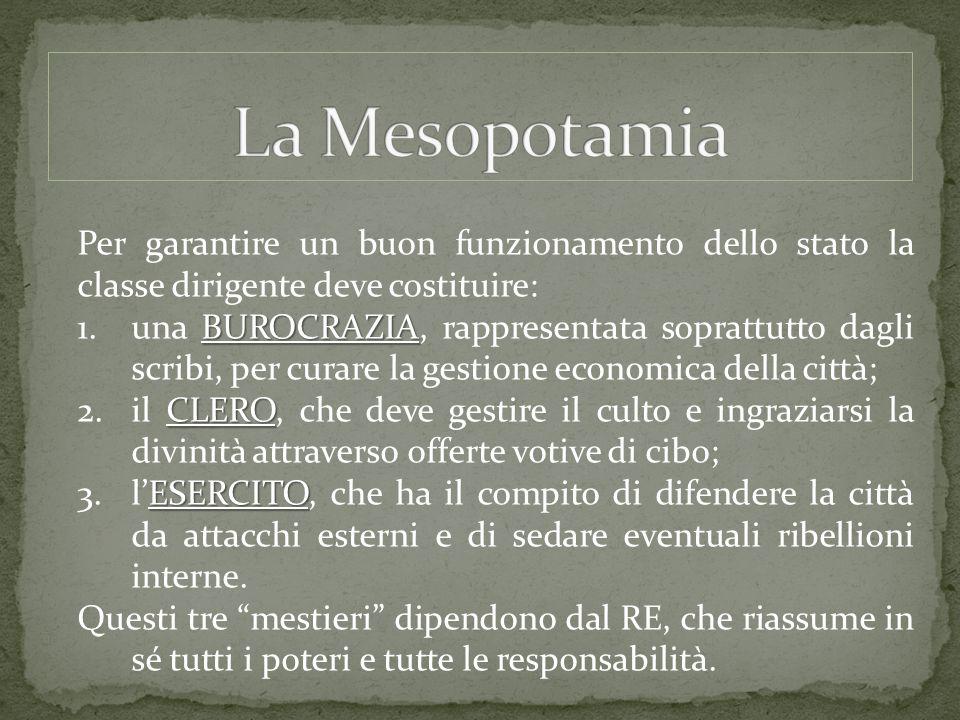 La Mesopotamia Per garantire un buon funzionamento dello stato la classe dirigente deve costituire: