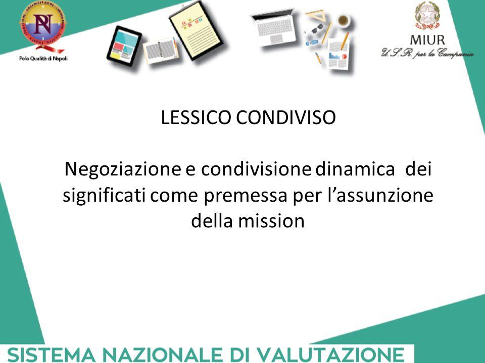 LESSICO CONDIVISO Negoziazione e condivisione dinamica dei significati come premessa per l'assunzione della mission.
