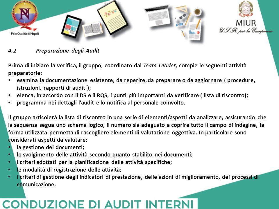 4.2 Preparazione degli Audit