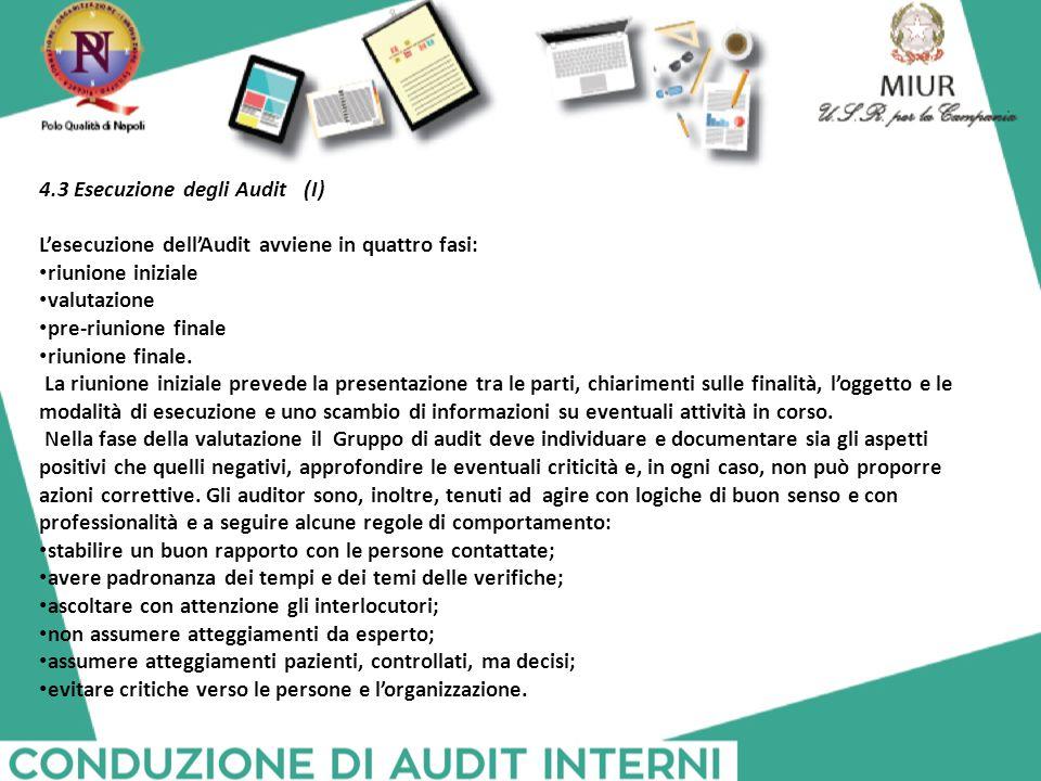 4.3 Esecuzione degli Audit (I)